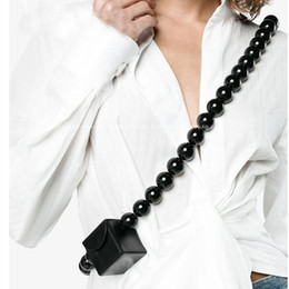 UniqUe bag designs online shopping - Wood beads bag Women Handbag small PU leather shoulder Bag Unique Women s Brand Design mini box purse black and Khaki