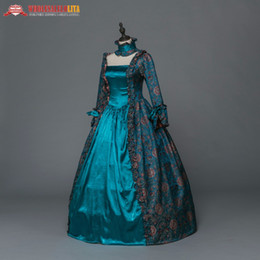 reenactment clothing NZ - Gothic Period Medieval Dresses Renaissance Brocade Dress Gown Steampunk Reenactment Women Clothing