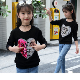 $enCountryForm.capitalKeyWord Australia - Fashion Girls T-shirt Sequins Autumn Long Sleeve Wweatshirts For Teeange Kids Cotton Love Tops Children Sport Sequins Clothes Y190516