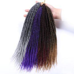 Tone Kanekalon Braiding Hair UK - crochet braids 30roots 14 18 22 inch Senegalese Twist Two Tone Crochet Braid Hair Extensions Ombre Kanekalon Synthetic Braiding Hair