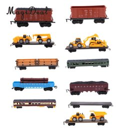 electric toy train tracks Australia - MagiDeal 1:87 Train Model Kids Toy Electric Track Train Freight Car Railroad Car Train Carriages Diecast Vehicle