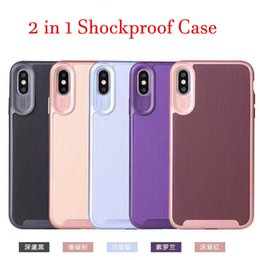 heavy duty iphone case luxury armor Australia - Luxury Shockproof Hybird Case 2 in 1 Wiredrawing Stripe Case Hard Armor Heavy Duty Shell for iPhone 6 7 8 plus xr xsmax