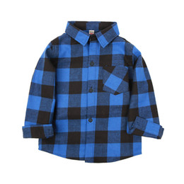 Kids Leisure Shirt Neutral Classic Clothes Lapel Button Plaid Shirt Long Sleeve Brushed Cotton Plaid Shirt 61 on Sale