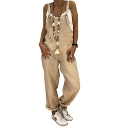 Jumpsuit Women Large NZ - 2018 Woman Autumn And Winter Casual Loose Straight Large Size Linen Solid Cotton One-Piece Bib Dungarees Rompers Jumpsuits Pants