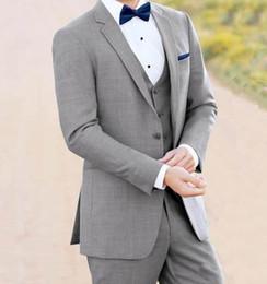 $enCountryForm.capitalKeyWord NZ - 2019 Brand New Light Grey Men 3 Piece Suit Male Wedding Suits Excellent Groom Tuxedos Notch Lapel Side Vent Men Blazer(Jacket+Pants+Vest)