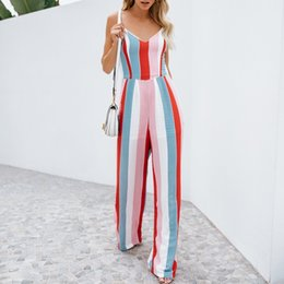 Overalls Jumpsuits For Women NZ - Women Jumpsuit Overalls For Women Striped Bow Knot Backless Sleeveless V Neck Strap Elegant Jumpsuit Ropa Verano Mujerr