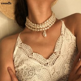 $enCountryForm.capitalKeyWord Australia - VANMOS Charm Women Multi Layer Multilayer White Imitation Pearls Choker Necklace Wide Neck Collar Oval Pearls Pendant Jewelry