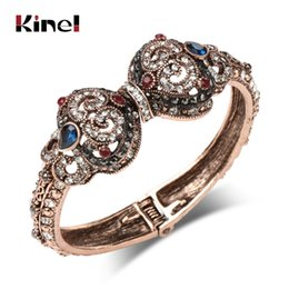 turkish accessories wholesale NZ - Kinel Vintage Bangle Gold Color Rhinestone Hollow Flower Bracelet Ladies Dress Wedding Party Accessories Gift Turkish Jewelry