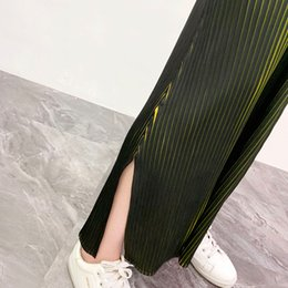 pleated wide leg chiffon pants Canada - Miyake Pleats Heavy Pressure Color Pants 2020 Spring New Slit Hundred Pants Casual Big Yards Wide Leg woman clothes