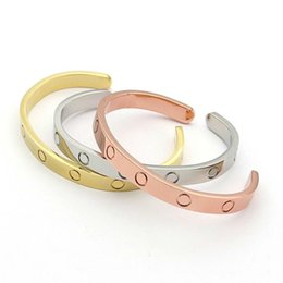 Vendita calda nuovo stile argento rosa 18 k placcato in oro 316l acciaio al titanio open love vite braccialetto braccialetto per gli uomini coppia donna venire con sacchetto di polvere
