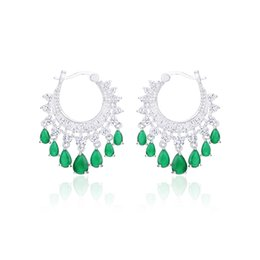 $enCountryForm.capitalKeyWord Australia - wholesale Fashion Round Ethnic Dangling Tassel Hoop Earrings for Women Green Clear CZ Wedding Dress Accessories High Quality