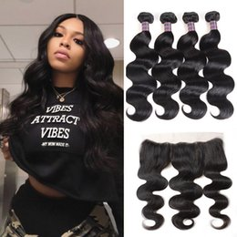 Discount cheap body wave human hair - Indian Hair Weaves Peruvian Human Hair Bundles With Closure Brazilian Body Wave Hair Wefts 4pcs With Lace Frontal Wholes