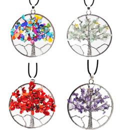 $enCountryForm.capitalKeyWord Australia - Wisdom Tree Natural Gemstone Necklace Gravel Beads Round Tree Of Life Winding Pendulum Pendant Charms 7 Chakra Necklace Jewelry Gift B159S F