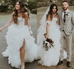 Lace Country Style Wedding Dresses Australia - 2019 Bohemian Style Strapless A Line Wedding Dresses Lace Appliques Mermiad Side Split Country Style Bridal Gown Custom Made