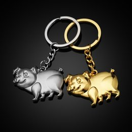 pig ring fashion NZ - Fashion Metal Keychain Zinc Alloy Llavero Charm Cute Pig Gold Silver Plated Key Chain Bag Key Ring Bag Pendant Jeweley Gifts