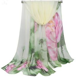 $enCountryForm.capitalKeyWord Australia - Spring and Autumn Winter New Women's Scarf Lotus Oil Painting Thin Towel Shawl Georgette Print Scarf