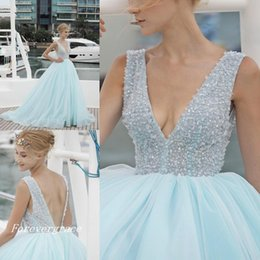 $enCountryForm.capitalKeyWord Australia - 2019 Fashion South African Ice Blue Sexy Prom Dress V-neck Backless Long Formal Evening Party Gown Custom Made Plus Size
