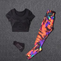 $enCountryForm.capitalKeyWord NZ - Women Yoga Sets Suit Fitness Sport Wear Running Leggings Top T-shirt+yoga Socks+workout Gym Pants Lose Weight Sportswear C19041201