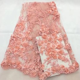 $enCountryForm.capitalKeyWord NZ - Nigerian Lace Fabrics for Wedding 2018, African French Lace Fabric High Quality 3D Sequins Rose,Pink Handwork Lace Applique CDF