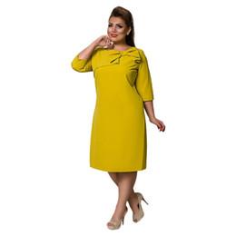 26c99d095c2 COCOEPPS 6XL Large Size Dress Red Women Autumn Thicken Dress Plus Size  Female Clothing Office Elegant Loose Dress Three Quarter C19011701
