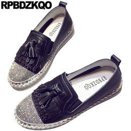 Slip Creepers UK - black fringe trainers tassel creepers thick sole rhinestone bling sneakers platform ladies beautiful flats shoes women luxury