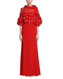 $enCountryForm.capitalKeyWord UK - Unique Slim Fitted Red Evening Dresses 2019 High Neck Evening Gowns With Wrap Beaded Flowers Prom Formal Dresses Evening Wear New