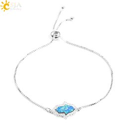 Opal Crystal Beads Australia - CSJA Blue Opal Hamsa Hand of Fatima Amulet Bracelets Bangles Austrian Crystal Cubic Zircon Beads Silver Charm Lady Jewelry F075