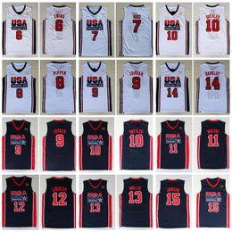 1992 Takım ABD Basketbol Formalar Rüya Larry Bird Michael Patrick Ewing Scottie Pippen Clyde Drexler John Stockton Charles Barkley Johnson