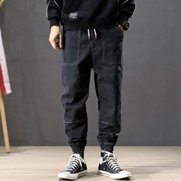 jeans cargo Australia - Fashion Streetwear Men Jeans Spliced Designer Loose Fit Elastic Harem Jeans Men Cargo Pants Japanese Style Hip Hop Joggers