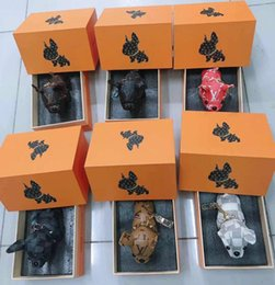 Wholesale brand new design real cow leather French bulldog key chain brand designer French bulldog keychains pendant with box from child locator alarms suppliers