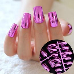 $enCountryForm.capitalKeyWord Australia - New 24 pcs Metal Hot Pink Rose Fake Nails Charming High Quality Full Cover Long Nail Manicure Kawaii False Nail N03