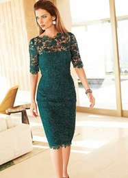 green fall dresses NZ - 2019 Dark Green Mother Of the Bride Dresses Sheer Bateau Neck Half Sleeve Knne Length Sheath Formal Evening Occasion Dresses Custom Made