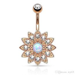 luxury belly button rings NZ - Sun Flower Belly Button Rings Luxury Gem Navel Ring Fashion Women Navel Button Ring Exquisite Jewelry Hot Sale