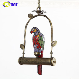 Pendant Lampshades Australia - FUMAT Stained Glass Parrot Light Creative Parrot Lampshade Lamp For Kitchen Living Room LED Vintage Glass Shade Pendant Lamps