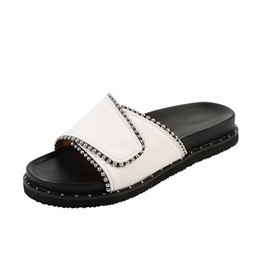 $enCountryForm.capitalKeyWord Australia - Big Size Women Genuine Leather Slippers With Beading One Piece Slip On Outdoor Sandals Flat Casual Beach Flip-flop Size 36-43