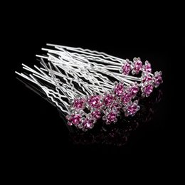 $enCountryForm.capitalKeyWord Australia - 20Pc Lot Girls Bridal Crystal Diamante Flower Rose Hairpin Clip Barrettes Sticks Hair Braider Wedding Styling Tools Accessories