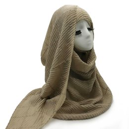 Beautiful hijaB scarves online shopping - with silver bar lady s shawl wrinkle fashionable scarves Women s beautiful Pure color series hijab fast shipping