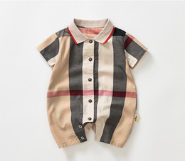 Wholesale collar jumpsuit for sale - Group buy Baby boys Plaid romper toddler kids plaid lapel single breasted short sleeve jumpsuits Infant Onesie newborn Casual clothes Y2319