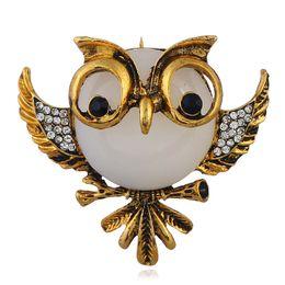 $enCountryForm.capitalKeyWord UK - Big Eyes Crystal Owl Brooch Antique gold silver Color Animal Bird Pins Dress Clothing brooches Collar Clip Fashion Women Lady Accessories