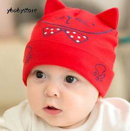 d393337e815 New pattern Autumn and winter Baby Cartoon Big face cat Sleeve cap Newborn  Cotton hat Pink Red Blue 3pcs lot