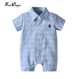 cute summer rompers Australia - Tem Doger Baby Rompers 2018 Summer Newborn Infant Boy Plaid Jumpsuit Toddler Clothes Short Sleeve Bebes Boy Shirts Playsuit J190524