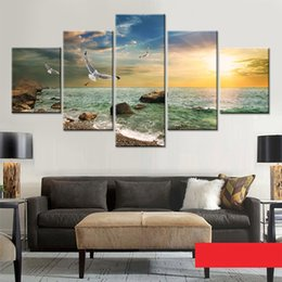 $enCountryForm.capitalKeyWord NZ - HD Printed Home Decor Living Room Wall Art 5 Piece Seagull Beautiful Sunset Landscape Canvas Painting Modular Pictures Framed