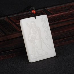 $enCountryForm.capitalKeyWord Australia - Fine Jewelry Natural White Hand-carved Chinese Hetian Jade Guan Yu Pendant + Rope Necklace Free Shipping