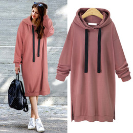 2a2a52aeea71f 2019 Hot Sale Autumn Winter Women Hoodies Long Sleeve Slim Plus Thick  Sweatshirt Dress Pullover Long Hoodie