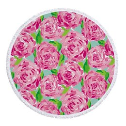 China Personalized Lilly Round Beach Towel With Tassels Hot styles shell Rose anchor turtle beach blanket Lilly pulitzer bath towel 10styles suppliers