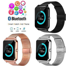 $enCountryForm.capitalKeyWord NZ - Bluetooth smart watch phone Z60 stainless steel wristband support SIM card TF card camera fitness tracker smart watch for IOS Android