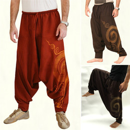 pattern yoga pants Australia - Vintage Men Pants Harem Elastic Casual Baggy Yoga Harem Pants Hip-hop Men Gypsy Cotton Linen Wide-legged Loose Drawstring