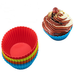 Discount silicone cup cake pan - Muffin Cases Round Shape Cup Cake Mould 3 inch Silicone Cupcake Liners Mold SGS Cake Baking Pans Bakeware Pastry 8 Color