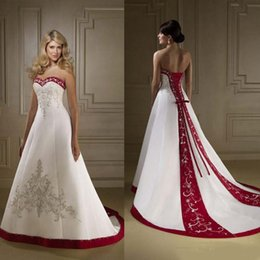 Strapless Sweetheart Red White Wedding Dress Australia - Red And White Satin Embroidery Wedding Dresses 2019 retro Strapless A Line Lace Up Court Train country Bridal Gowns vestidos Plus Size