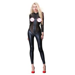 Catsuit Zipper Xl Australia - New Women Black Faux Leather Jumpsuit Transparent Mesh Patchwork Bodysuit Long Sleeve Zipper Catsuit Sexy Club Costumes